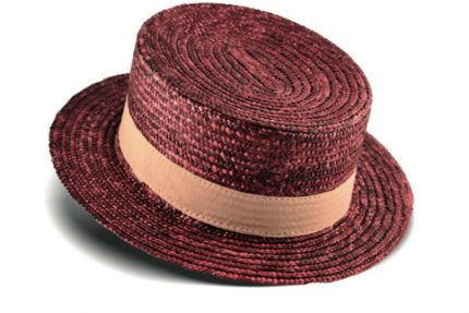 Red straw hat